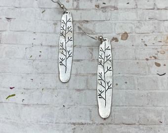 Sterling Silver stamped earrings - Vine stamped earrings