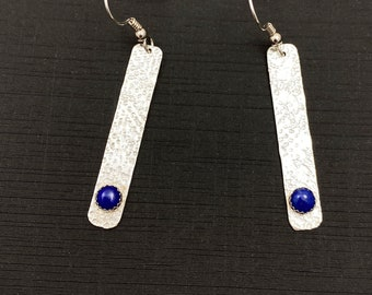 Sterling silver and Lapis earrings - Textured silver earrings