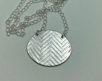 Textured sterling silver pendant on chain - Sterling Chevron textured pendant