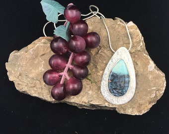 Blue Opal Petrified Wood and Sterling Silver Pendant - Nature Lover's gift