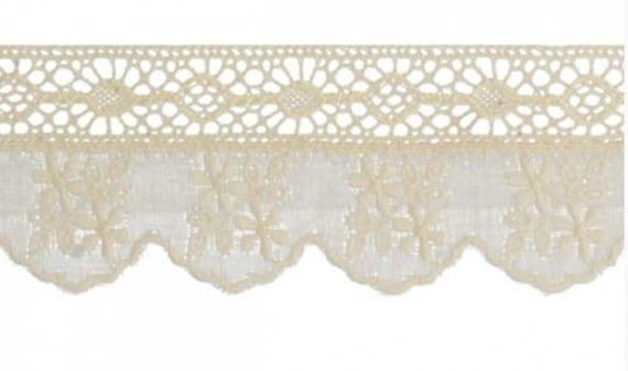 """1/""""//2.5cm Pretty Cream Stretch Flat Lace Trim Sewing//Crafts//Cards x 3 Metres"""