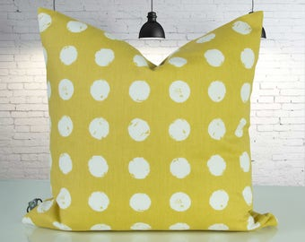 Saffron yellow Cushion cover with white dots, 50 x 50 cm