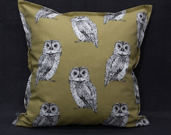Pillow Case/upholstery with owls, Brown, 40 x 40 cm