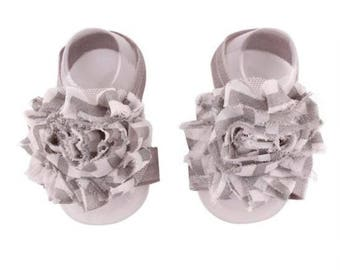 Grey - Baby Shoes , Baby Barefoot Sandals,  Baby Sandal,  Baby Sandals, Barefoot, Newborn, Toddler