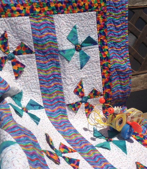 Pdf Baby Quilt Patternlded Triangles3d Pinwheels4 Etsy