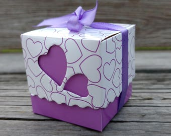 Purple Baby Shower Favors, Birthday Party Favor, Purple Favor Box, Candy Favor Box, FREE Ribbons!