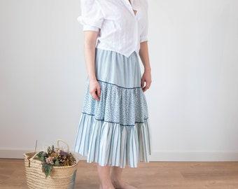 SALE Green Skirt White Beaded Floral Design Faith Resort Wear Flared Mid Calf Midi Skirt Medium Folk Ethnic Costume Malaysia Cotton Linen