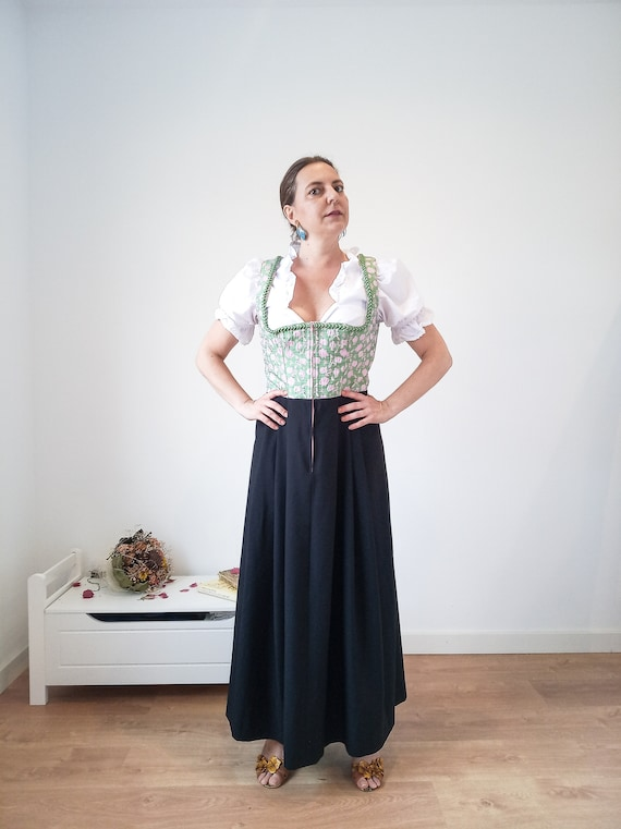 Long vintage dirndl dress by Wenger, black green d