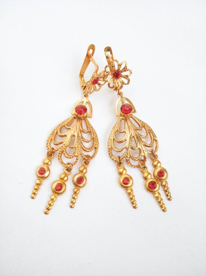 gold green bohemian earrings Spanish Goya antique style earrings, Unworn vintage filigree chandelier earrings dangle boho earrings
