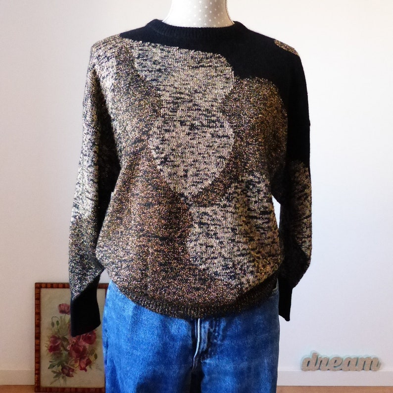 06bf2c37ce Black gold printed lurex sweater party sweater top shiny