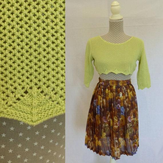 Pastel vintage crop top, pistachio green crochet c