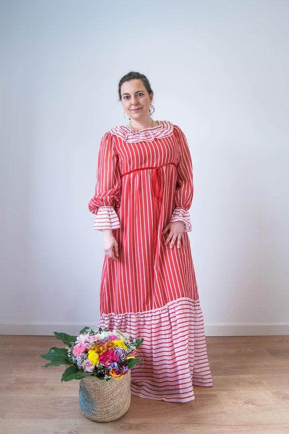 Vintage prairie dress M-L, 70s 80s edwardian prai… - image 2