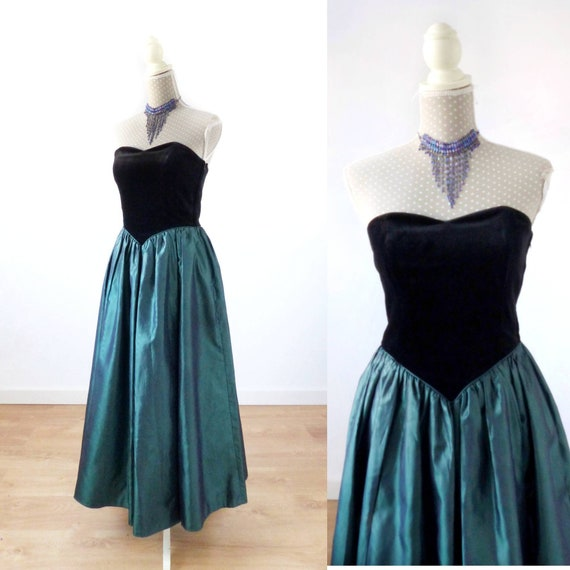 Laura Ashley dress, 80s ball gown prom dress, blac