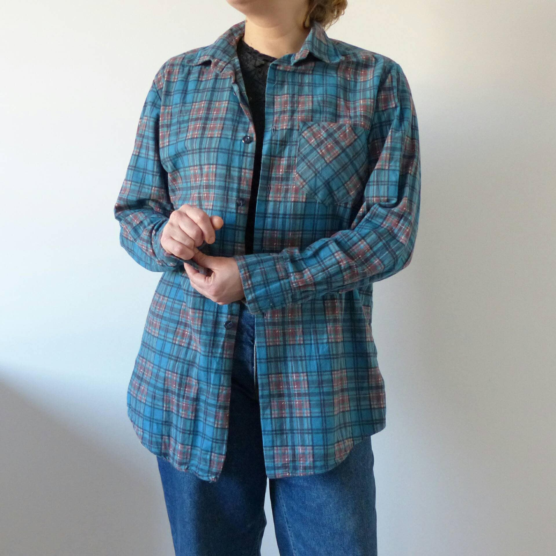 8b8e999b 70s Vintage Clothing, plaid shirt for men. Unisex checkered 90s grunge  shirt Casual button up shirt with pockets, grunge style clothing.
