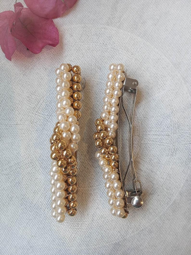 unworn handmade vintage 90s pearl beaded hair clip NOS vintage pearl hair clip french hair barrette.