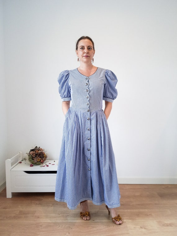 Blue vintage dirndl dress, plaid dirndl dress, lon