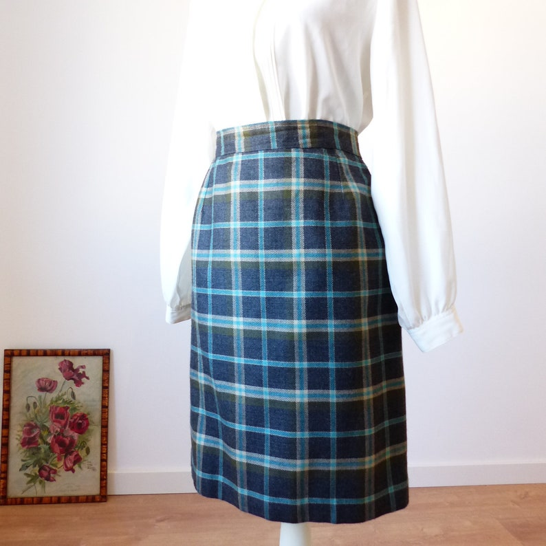 f0bdb439f5 80s 90s Plaid skirt mini tartan skirt gray green plaid | Etsy