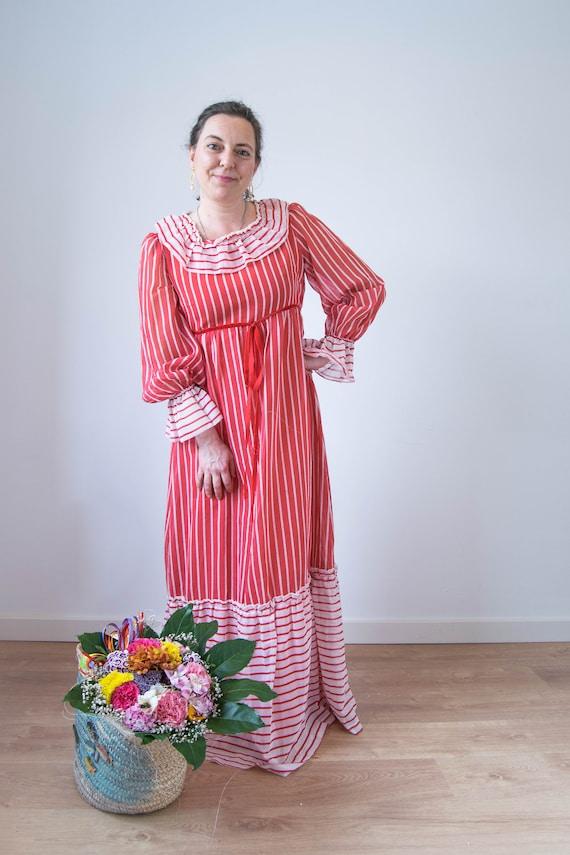 Vintage prairie dress M-L, 70s 80s edwardian prai… - image 1