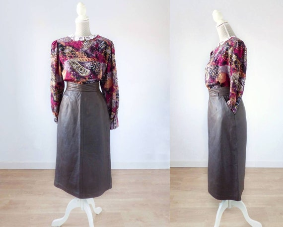 Leather skirt W28, brown high waisted leather skir