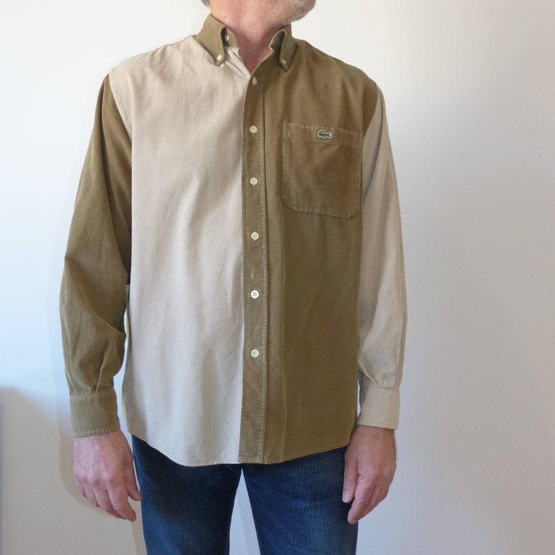 Lacoste Vintage camisa de pana para hombre camisa abotonada  ae4c52fd5adea