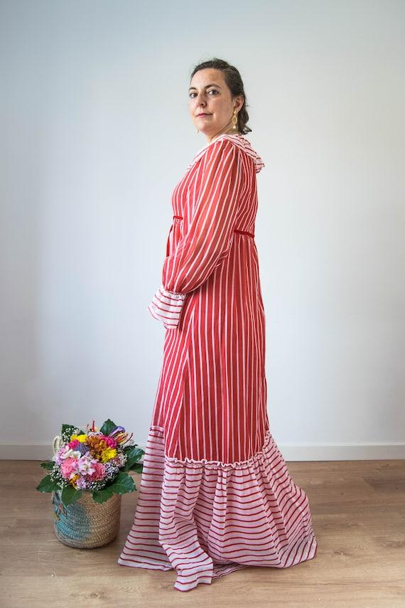 Vintage prairie dress M-L, 70s 80s edwardian prai… - image 4