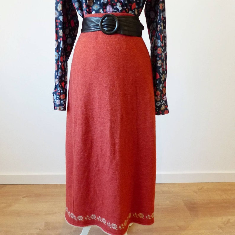 389805c2bb87 Vintage knit maxi skirt, stretchy knit long skirt, tube wool blend skirt,  70s high waist ankle length skirt, ...