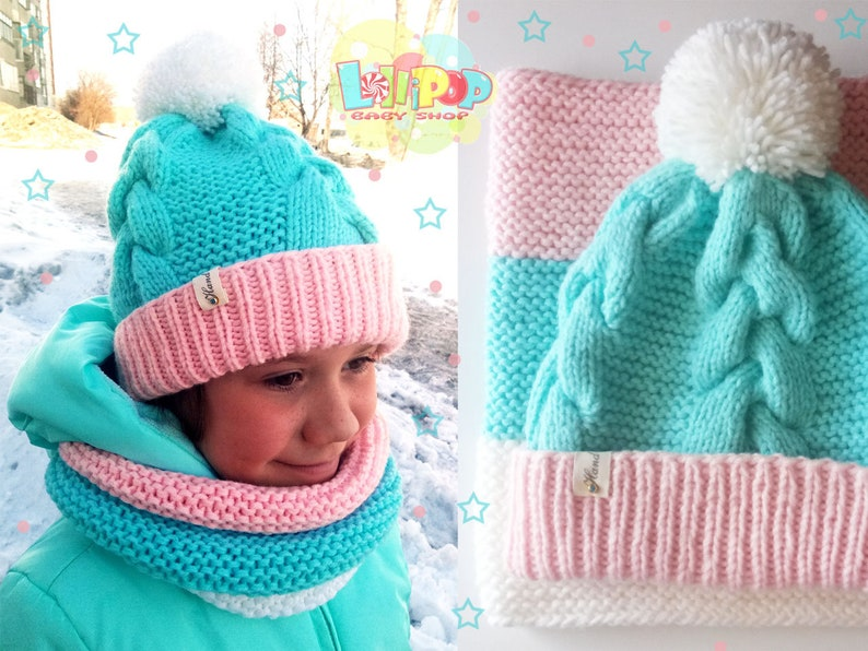61178feb8d3 Mint Winter Hat For Toddler Girl Hat With Pompom Snood and