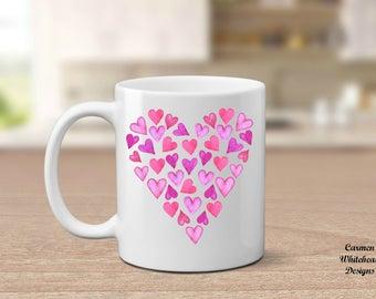 Hearts coffee mug, Valentine's day gift, gift for her, girlfriend gift, Valentine's day mug, coffee lover gift, Valentine gift