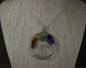 Chakra Wire Wrapped Tree of Life Pendant