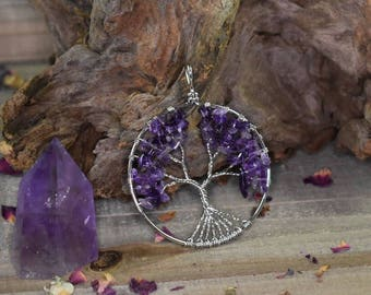 Amethyst Wire Wrapped Tree of Life Pendant