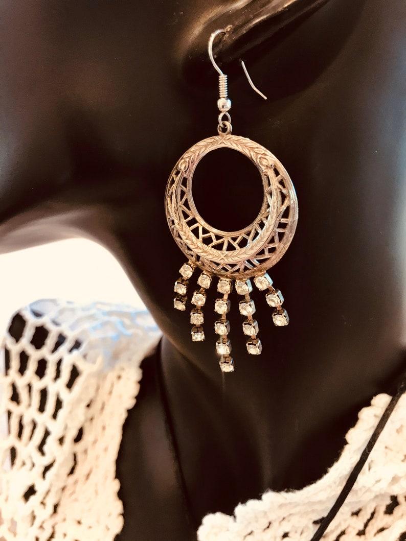 PRICE REDUCTION Dangle Rhinestone Earrings Vintage