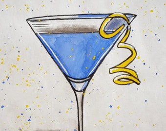 Watercolor/Acrylic Painting: Blueberry Martini