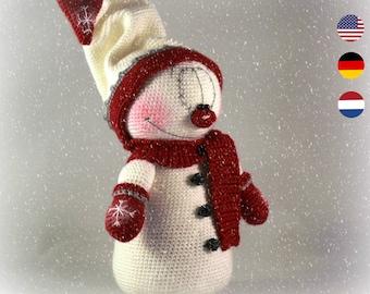 PDF pattern Mr. Snowman, English, Dutch and German, amigurumi snowman, christmas crochet snowman pattern, christmas decoration