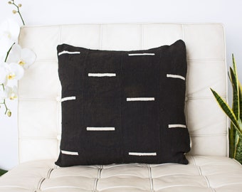Black with white dashes Mudcloth pillow