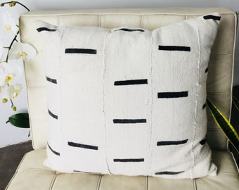 Dashes Large Mudcloth pillow