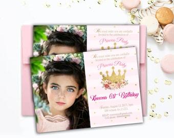 PRINCESS BIRTHDAY INVITATION Princess Invitation First Birthday pink and gold glitter Princess invite princess party Printable Invitation