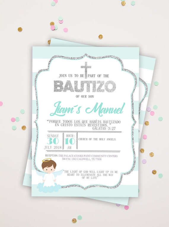 Blau Und Silber Glitzer Taufe Einladungen Spanisch Und Englisch Die Taufe Einladung Für Jungen Taufe