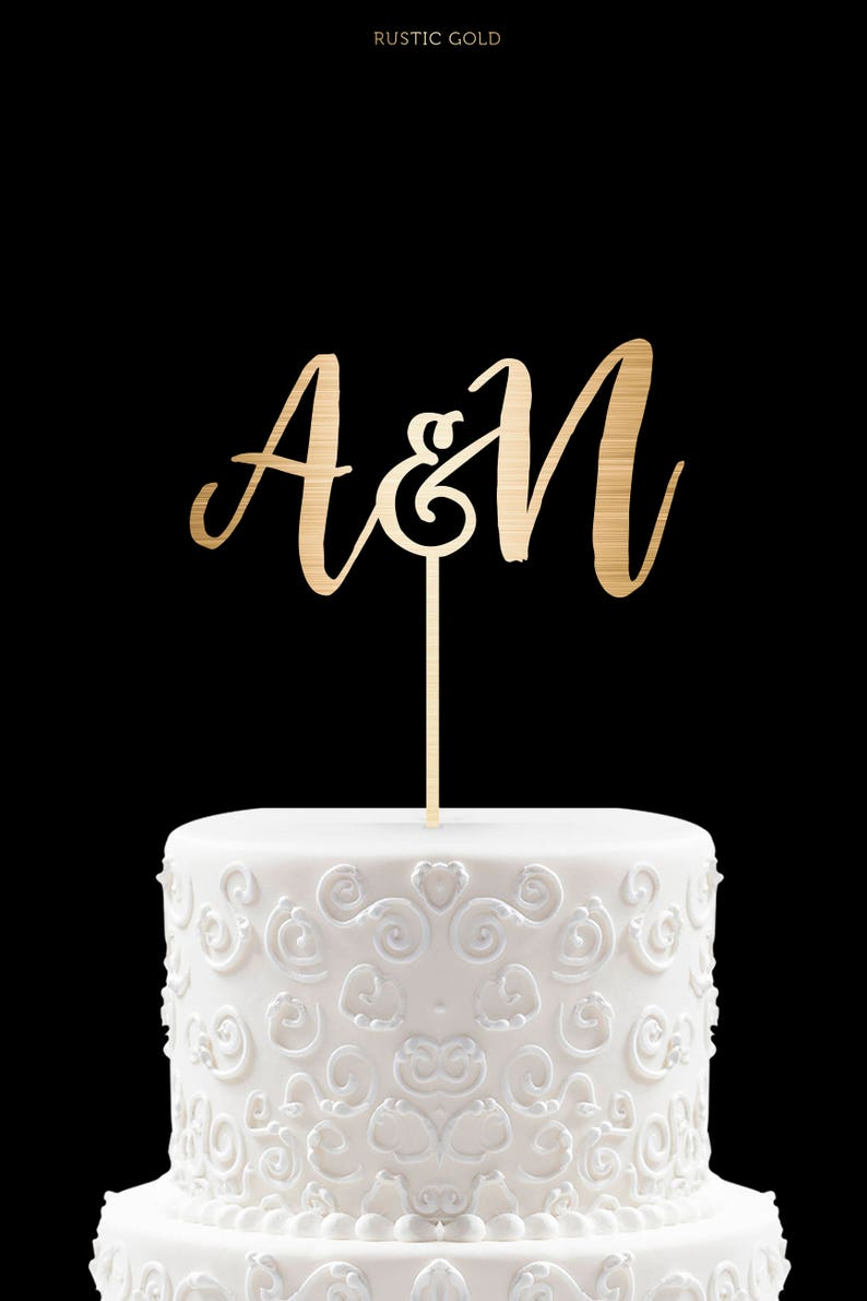 Customized Wedding Cake Topper Initials Personalized Cake image 0