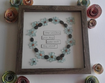 pebble art/8x8 shadowbox/inspirational quote/aqua blue/graduation gift