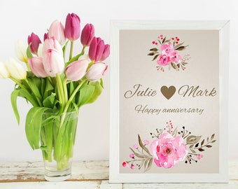 Printable anniversary gift, customized names and text, print, digital download