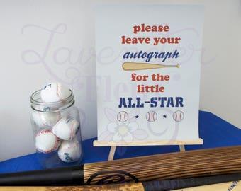 All-Star Autograph Digital Printout - Baseball Theme Party, Baby Shower, Baseball