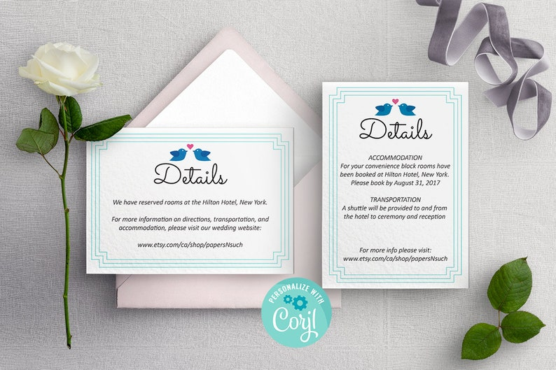 1db03af9cd1 Simple Cute Wedding Details Template Lovebirds Wedding Card