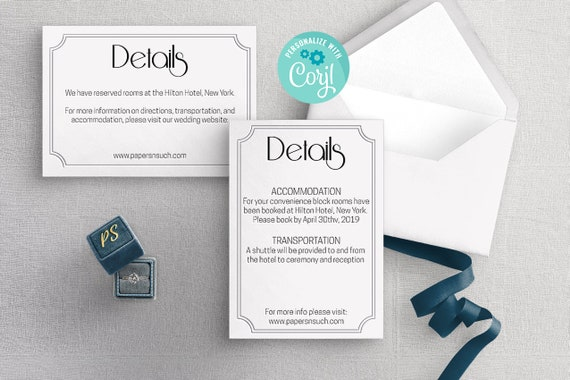 Art Deco Wedding Details Card Template Printable Black And White Enclosure Card Diy Instant Download Editable Template Print Free Demo