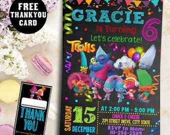 Trolls invitations, Trolls Birthday Invitation,Troll Party Ideas, Trolls Party Invitation,Trolls Party Invite,Trolls Invitation,FreeTagscard