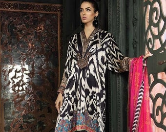 5de65437df8 Maria B Silk Winter collection 2019-Pakistani Indian Evening wear-Made to  Order(3pc)