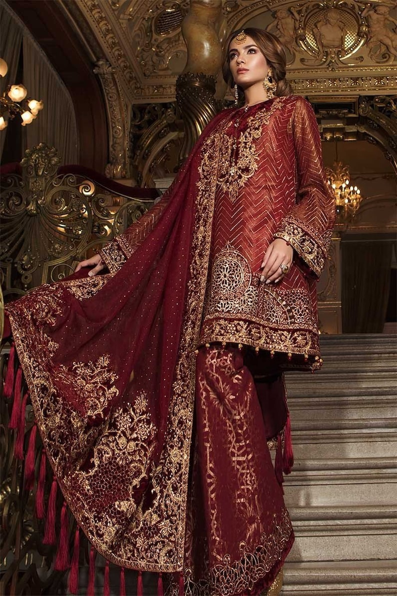45558bf3641 Maria B Mbroidered Wedding Collection 2018 Deep Ruby Party