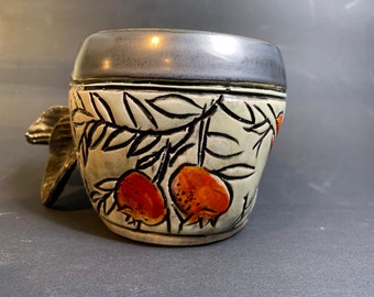 Handled Cup With Berries and Leaves