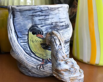 Branch-handled Mug with Three American Goldfinches / Enchanted Forestry / Nature-Inspired Gift / Functional Art / Objet d'Art