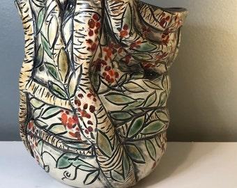 Branching Vase With Bittersweet Vines