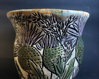Large Vase WIth Florals and Leaves